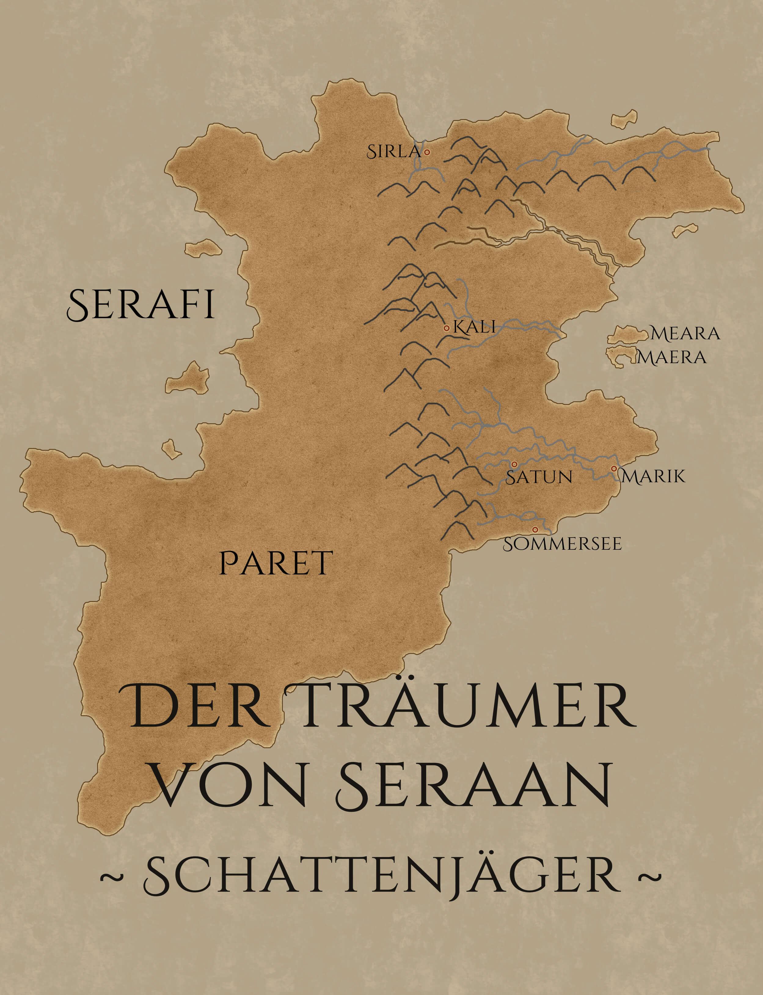 Karte von Serafi und NaNoWriMo-Cover für Schattenläufer