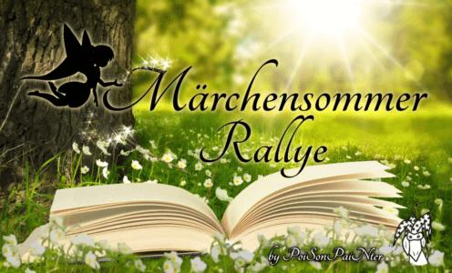"""Das Märchensommer Rallye Banner zeigt eine Scherenschnitt-Fee, die Glitzer auf den verschnörkelten Schriftzug """"Märchensommer Rallye"""" über einem aufgeschlagenen Buch streut; alles vor einer grünen Wiese neben einem Baum und Sonnenstrahlen im Hintergrund"""