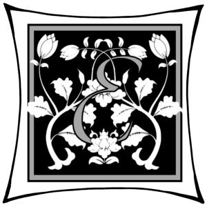 Ein E um dessen Arme Ranken geschlungen sind auf schwarzem Grund und mitgrauen graden Rahmen und darum noch ein weißer eckiger Rahmen